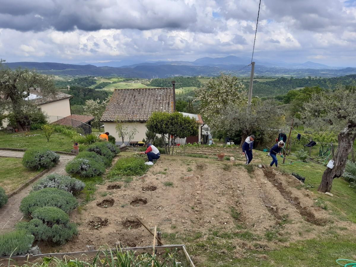 Tutti insieme a lavorare nell'orto